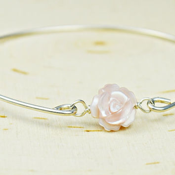 Pink Mother of Pearl Bangle Bracelet- Pink Carved Rose and Sterling Silver Filled Wire Wrapped Bracelet- Custom Made to Size