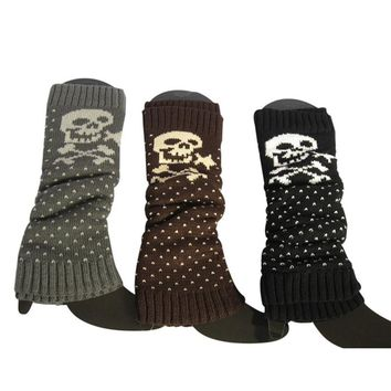 1 pair Socks Women Point Skull Stripes High Tube Socks Slim Over Knee Pile Heap Socks