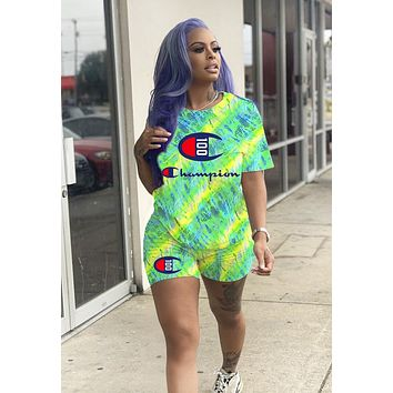 Champion Summer New Letter Print Women Men Top And Shorts Two Piece Suit Fluorescent Green