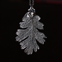 Real Leaf Necklace, Platinum dipped REAL Lacy Oak Leaf, Wedding, Bridesmaid, Bridal Party Jewelry, Gunmetal Lacey Oak,