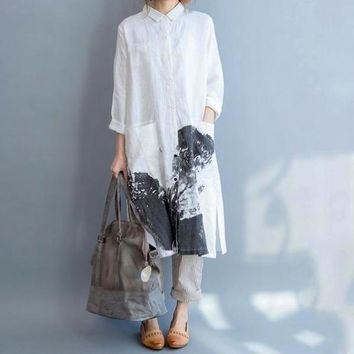 Long Sleeve Cotton Linen White gown patterns Loose dress