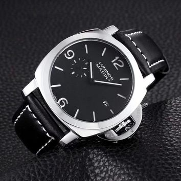 Waterproof Casual Men's Watch Two Needles and a Half with Waterproof Leather Fashion Calendar Quartz Watch Male