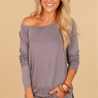 Scoop Neck Tee Steel Grey