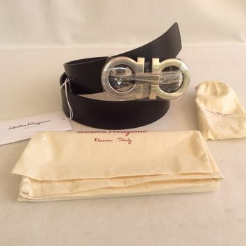 NWT SALVATORE FERRAGAMO BELT BLACK DOUBLE GANCINI BUCKLE SZ 42 Adjustable !$440