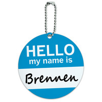 Brennen Hello My Name Is Round ID Card Luggage Tag