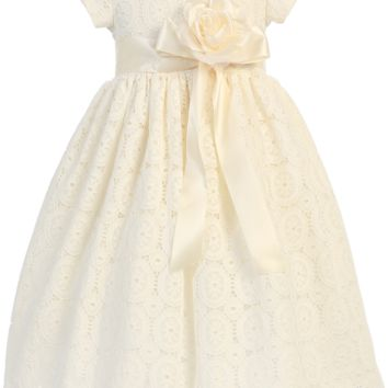 Ivory Lace Tulle Overlay Satin Easter Spring Dress with Satin Sash (Toddler 2T - Girls Size 7)