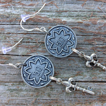 Steam punk inspired French coin and fleur de lis key earrings sterling silver hooks -steam punk jewelry -gifts for her -christmas -holiday