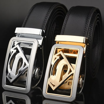 Men's leather belts leather belt automatic buckle type belt Superman fashion models = 1946140420