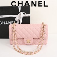 HCXX 19July 007 Fashion Chain Oblique Bag Flap Bag 25-15-7.5 pink gold