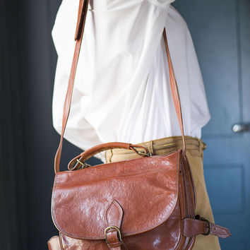 Tan Saddle Bag Vintage. Leather Crossbody Handbag for women. Equestrian bag two bags in one. Cartridge style Bag leather Horse Saddle bag