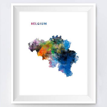 Belgium, Watercolor Map Print, Brussels Print, Belgique Poster, Travel, Urban, Europe, Abstract, Painting, Wall Art, Gift, Digital Download