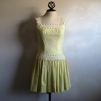 Vintage 1960s Summer Dress Pale Yellow Embroidered 60s Sun-Dress Small