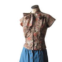 Vintage Floral Paisley Secretary Blouse Byer California MED