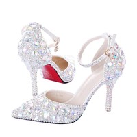 Summer hollow diamond bride shoes, white high heels, fine heel crystal shoes, one tone wristband, wedding shoes, red sandals