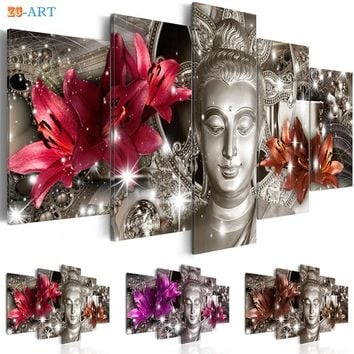 Flowers Prints Buddha Statue Poster Canvas Art 5 Pieces Bling Wall Painting Modular Pictures for Living Room Home Decor