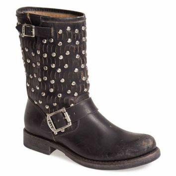 Frye Jenna Cut Stud Short Moto Black Boot