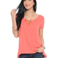 Coral Sheer You Back Short Sleeve Tee | $10 | Cheap Trendy Blouses Chic Discount Fashion for Women
