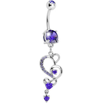 Tanzanite Gem Intricate Hearts Dangle Belly Ring