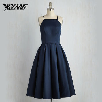 Navy Blue Stain Cocktail Dresses 2016 Ball Gown Tea Length Women Dress