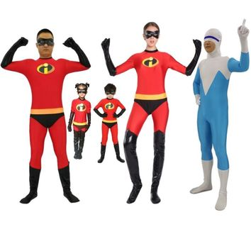 Cool 24 Hrs Shipped Out Kids Adults The Incredibles Cosplay Costumes Family The Incredibles Spandex Jumpsuits Bodysuits for HalloweenAT_93_12