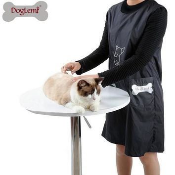 Waterproof Nylon Dog Cat Grooming Apron with Pockets Puppy Cat Black Beautician Smock Clothes Pet Grooming Pet Dog Accessories