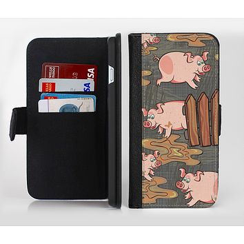The Cartoon Muddy Pigs Ink-Fuzed Leather Folding Wallet Credit-Card Case for the Apple iPhone 6/6s, 6/6s Plus, 5/5s and 5c