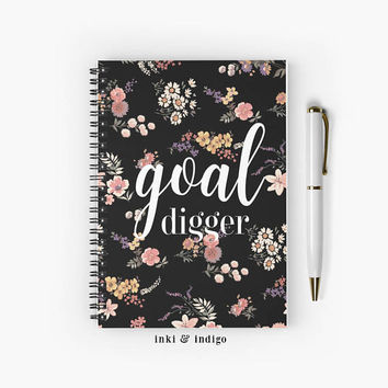 Goal Digger - Spiral Notebook With Lined Paper, A5 Writing Journal, Diary, Lined Journal, Black Floral Journal, Goal Journal