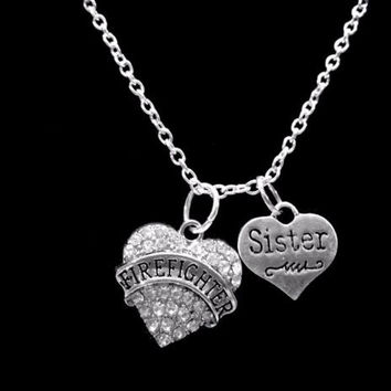 Crystal Firefighter Sister Heart Fireman Firefighters Charm Necklace
