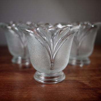 Vintage Set of Three (3) Clear and Frosted Glass Votive/Candle Holder