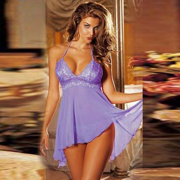 Cute On Sale Hot Deal Sexy Lace Irregular Sleepwear Dress Summer Exotic Lingerie [6596444611]