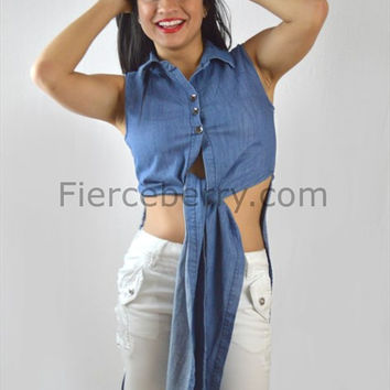 Light Blue 3 Button Denim Top