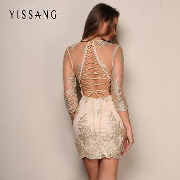 Yissang Summer Mini Dress Women deep v neck Elegant backless lace up Party Dresses hollow out Sundress Vestidos dropshipping