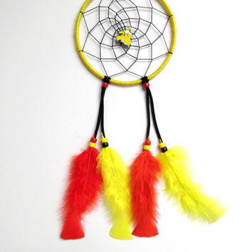 "Pokemon Pikachu dreamcatcher, medium yellow 5"" ring, black web"