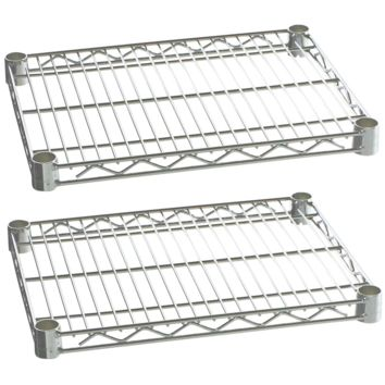 "Commercial Kitchen Heavy Duty Chrome Wire Shelves 18"" x 24"" with Clips (Box of 2)"