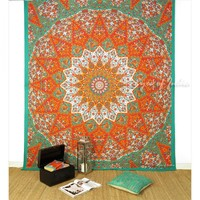 Queen Orange Star Wall Hanging Bedspread Coverlet Mandala Decorative Tapestry