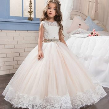 Abaowedding champagne graduation gowns children pageant ball gown dresses for girls prom dresses lace flower girl dresses