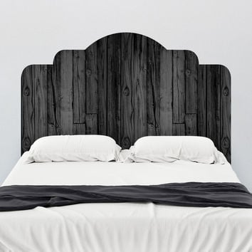 Black Stained Wood Adhesive Headboard