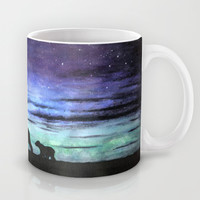 Aurora borealis and polar bears (black version) Mug by Savousepate