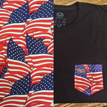 Waving American Flag Patterned Pocket Tee - Red, White and Blue, Stars and Stripes