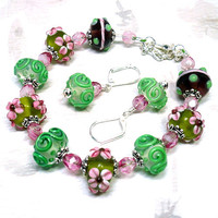Pink, Green, Purple, Flower Lampwork Silver Bracelet and Earring Set