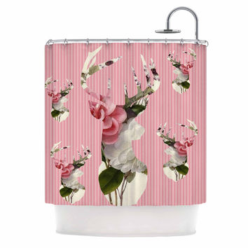 "Suzanne Carter ""Floral Deer"" Pink White Shower Curtain"
