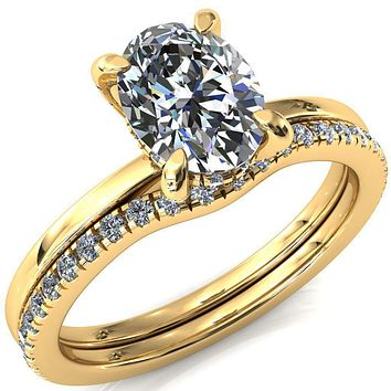 Rosy Oval Moissanite 4 Claw Prong Single Rail 3/4 Micropave Engagement Ring