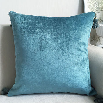 "Velvet tassel throw pillow , dream blue cushion cover/cushion shell pillow sham 16x24""/18x18""/20x20""/24x24"""