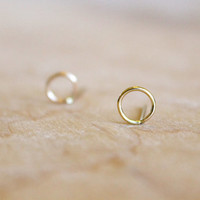 Circle Stud Earrings - 14k Gold Fill or Sterling Silver - Minimalist - Wire Wrapped - Round Posts - Sterling Silver Earrings - Small Studs