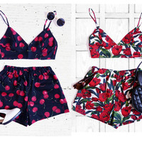 Red Tulip/ Cherry Bralet Co-ord Two Piece Set