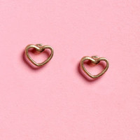 Hearts and Crafts Gold Heart Earrings