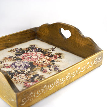 Peonies and roses Vintage look Wooden Serving Tray , Large  Wooden tray  ,serving tray ,wood serving tray