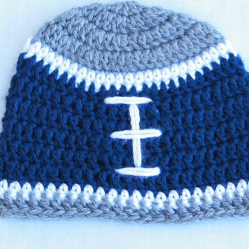 Free Shipping in U.S.A - Little Dallas - Blue White Grey Crochet Beanie Hat - Newborn Child Boy - Head Warmer - Dallas Cowboys - Beanie Hat