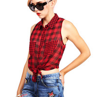 Gingham Knot Top