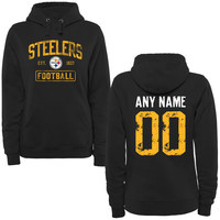 Women's Black Pittsburgh Steelers Distressed Custom Name & Number Pullover Hoodie